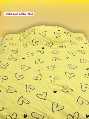 سرویس ملحفه یک نفره قلب زرد